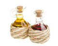 Red wine vinegar and sunflower oil isolated on white background Royalty Free Stock Photography