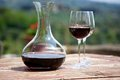 Red wine in a wine carafe and a two wine glasses old vineyard Royalty Free Stock Photo