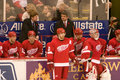 The red wings bench henrick zetterberg and dominik hasek are in front of coach mike babcock and detroit wing during a game against Royalty Free Stock Photo