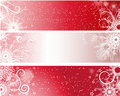 Red winter banners Stock Images