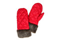 Red winter mittens isolated on white background Royalty Free Stock Photos