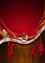Red and wooden christmas background with velvet metal strip brown wood with objects Stock Photo
