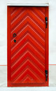 Red wooden door design Stock Image