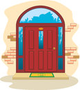 Red wooden doors enter Royalty Free Stock Photo