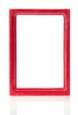 Red wooden frame for pictures or the photos Royalty Free Stock Photo