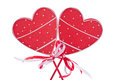 Red wooden hearts decoration symbol of love Stock Photos