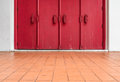 Red wooden old style doors Royalty Free Stock Photo