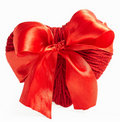 Red woolen heart with ribbon isolated on white Stock Photos