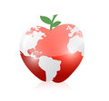 Red world map apple illustration design over a white background Royalty Free Stock Photo