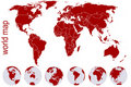Red world map with Earth globes Stock Image