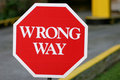 Red Wrong Way Sign Royalty Free Stock Photo