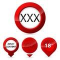 Red XXX glow button set