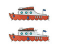 Red Yachting Boat Vector Illustration