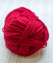 Red yarn closeup a close up shot of a skein of wool Royalty Free Stock Photo