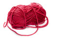 Red yarn on a white background Stock Photo