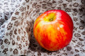 Red and yellow apple a nice on a flowery fabric under the sun Stock Image