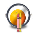 Red and Yellow Art Crayons as Orange Royalty Free Stock Photo