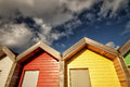 Red & yellow beach huts Stock Photography