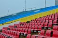 Red yellow blue seats general public section grandstand float marina bay singapore Stock Photo