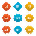 Red yellow blue several style of sticker badge label set Royalty Free Stock Photo