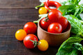 Red and yellow cherry tomatoes among the basil leaves on a dark wooden background Royalty Free Stock Photo