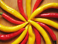 Red and yellow chili peppers. Royalty Free Stock Photos