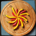 Red and yellow chili peppers. Royalty Free Stock Image