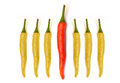 Red yellow chilli peppers isolated on white Royalty Free Stock Photo