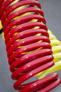 Red and yellow coiled wires close up of electrical Stock Images