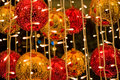 Red and yellow cristmass balls Stock Images