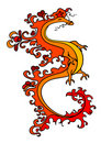 Red and yellow dragon Stock Photos