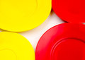 Red and yellow empty plate Royalty Free Stock Photo