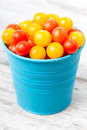 Red and yellow fresh cherry tomatoes in blue bucket with water drops on wooden table Stock Images