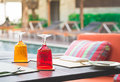 Red and Yellow Glass of water on luxury table setting Royalty Free Stock Photo