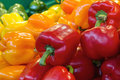 Red Yellow and Green Bell Peppers Royalty Free Stock Photo