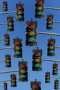 Red, yellow and green traffic lights Royalty Free Stock Photography