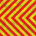 Red yellow hazard angled