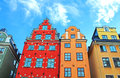 Red and Yellow iconic buildings on Stortorget, Stockholm, Sweden Royalty Free Stock Photo