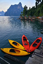Red and yellow kayak on the lake cheo lan khao sok national park thailand Royalty Free Stock Images