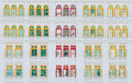 Red and yellow open windows on classical building Royalty Free Stock Photo