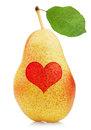 Red yellow pear with heart symbol Royalty Free Stock Photos