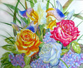 Red yellow roses and iris watercolor illustration Stock Photography