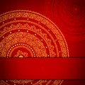 Red and yellow round frame with ornament Royalty Free Stock Images