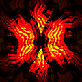 Red yellow swirl fractal elements on black background Royalty Free Stock Photo