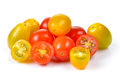 Red and yellow tomatoes on white background Royalty Free Stock Photo