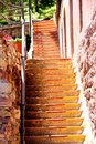 Red and yellow windy stairs Royalty Free Stock Photo