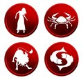 Red zodiac signs - set 1 Stock Images