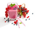 Redcurrant and blueberry smoothie. Royalty Free Stock Photo
