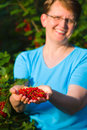 Redcurrant and woman Stock Photos
