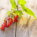 Redcurrant on wooden table Royalty Free Stock Photos